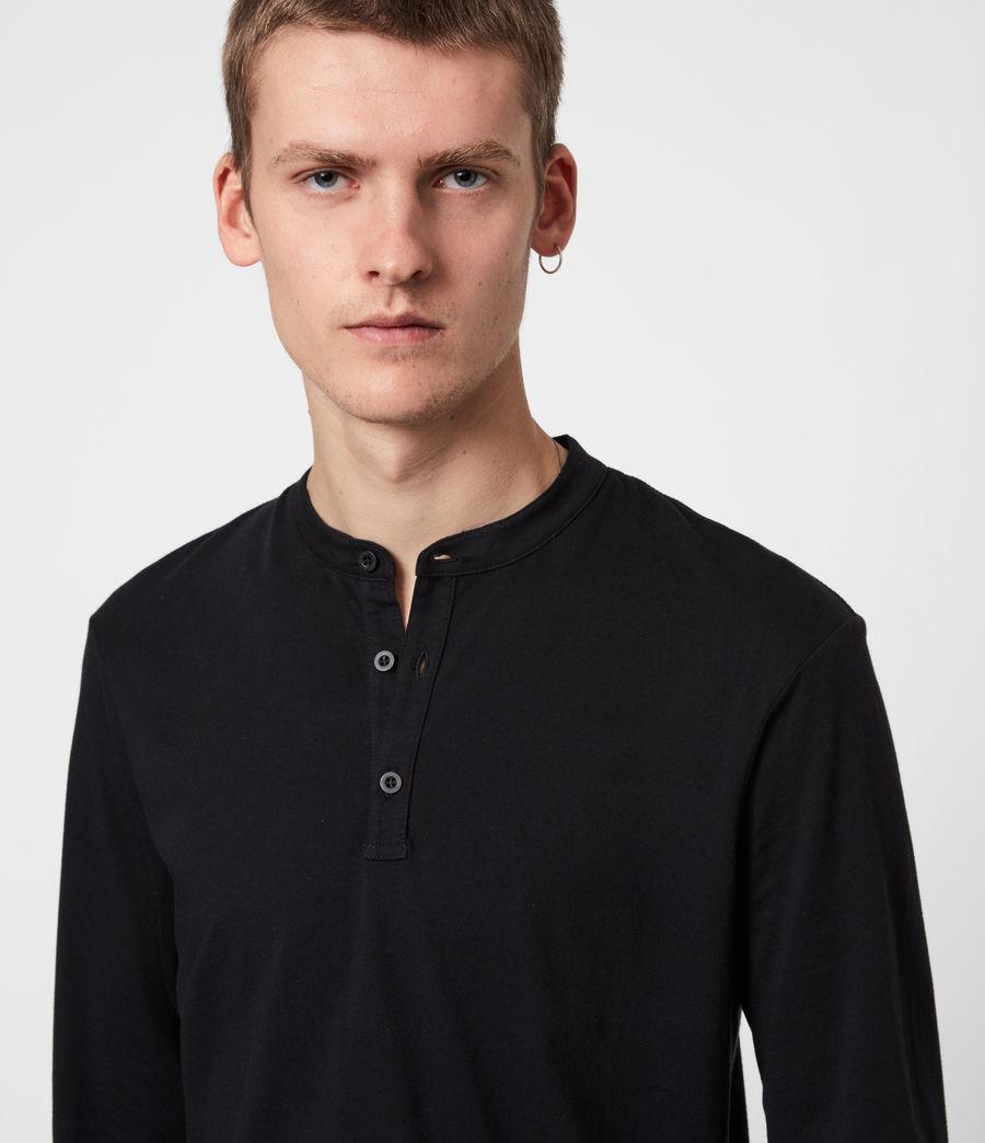 Herren Kershaw Henley Langarmshirt (jet_black) - Image 4