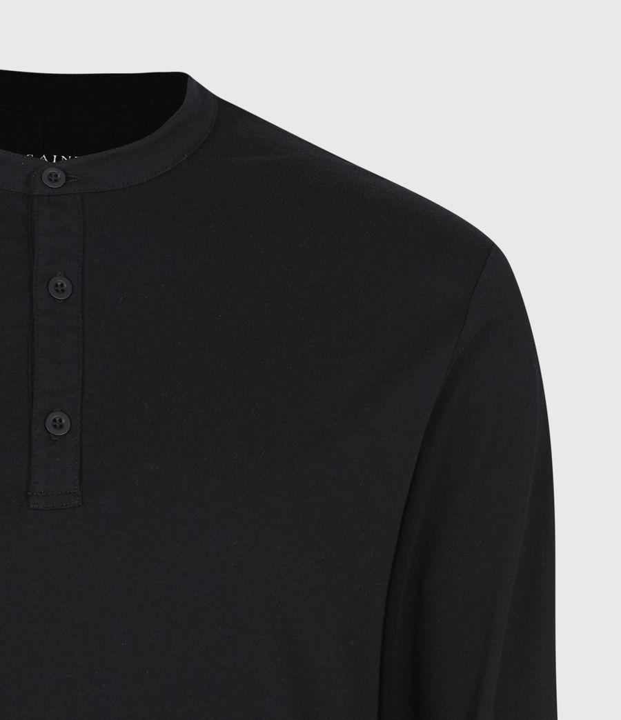 Herren Kershaw Henley Langarmshirt (jet_black) - Image 5