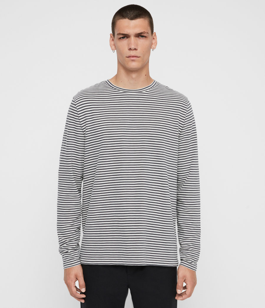 Men's Neal Stripe Long Sleeve Crew T-Shirt (chalk_jet_black) - Image 1