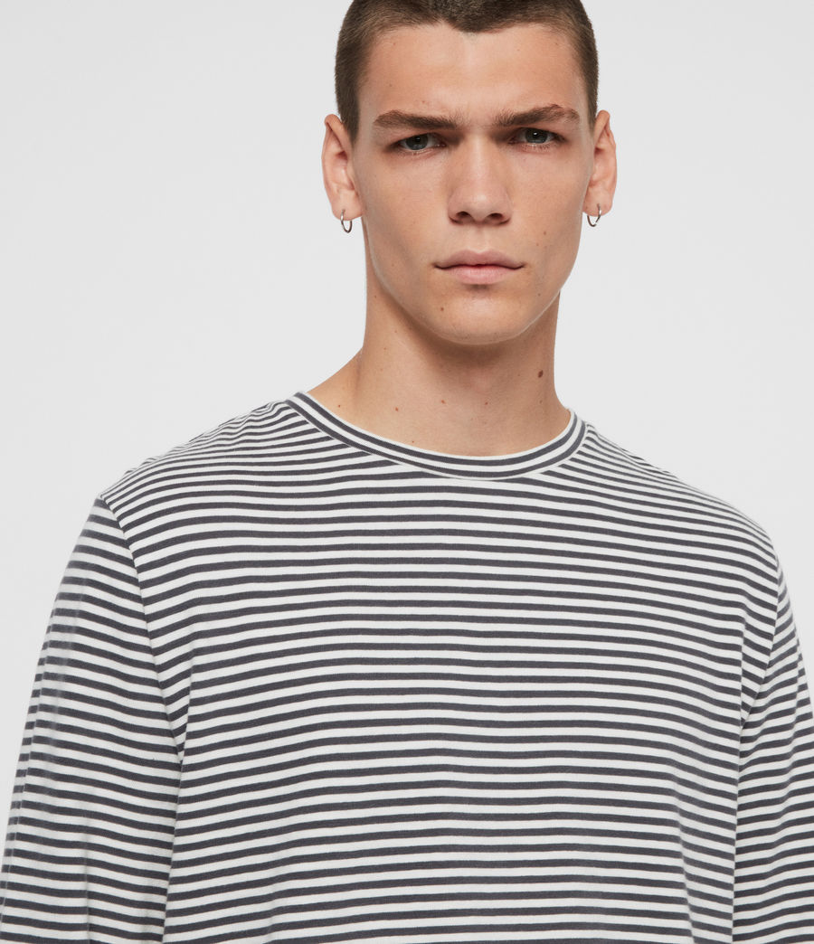 Men's Neal Stripe Long Sleeve Crew T-Shirt (chalk_jet_black) - Image 2