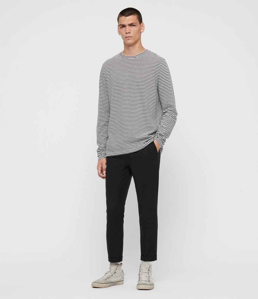 Men's Neal Stripe Long Sleeve Crew T-Shirt (chalk_jet_black) - Image 3