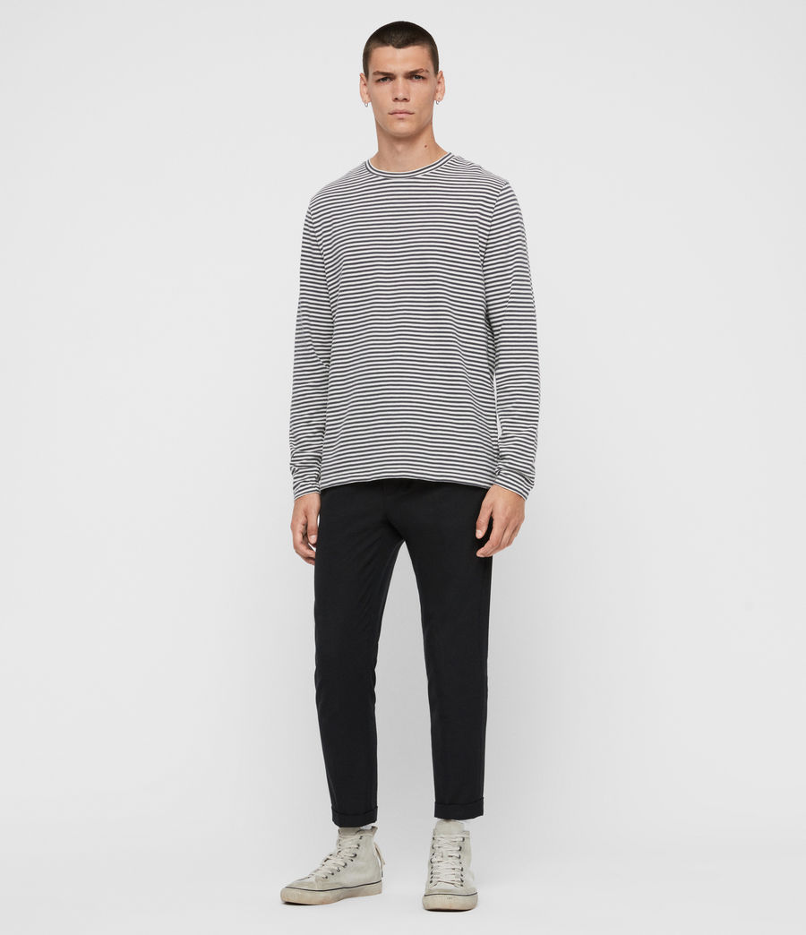 Men's Neal Stripe Long Sleeve Crew T-Shirt (chalk_jet_black) - Image 4