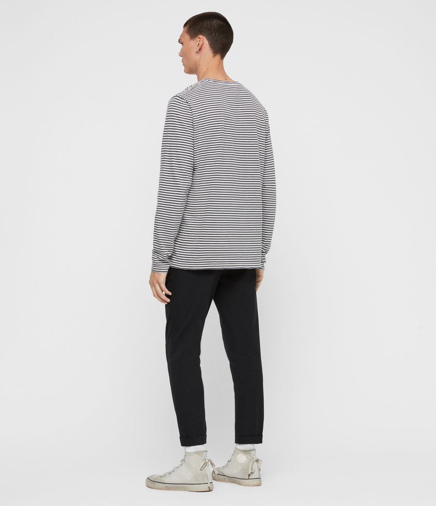 Men's Neal Stripe Long Sleeve Crew T-Shirt (chalk_jet_black) - Image 5