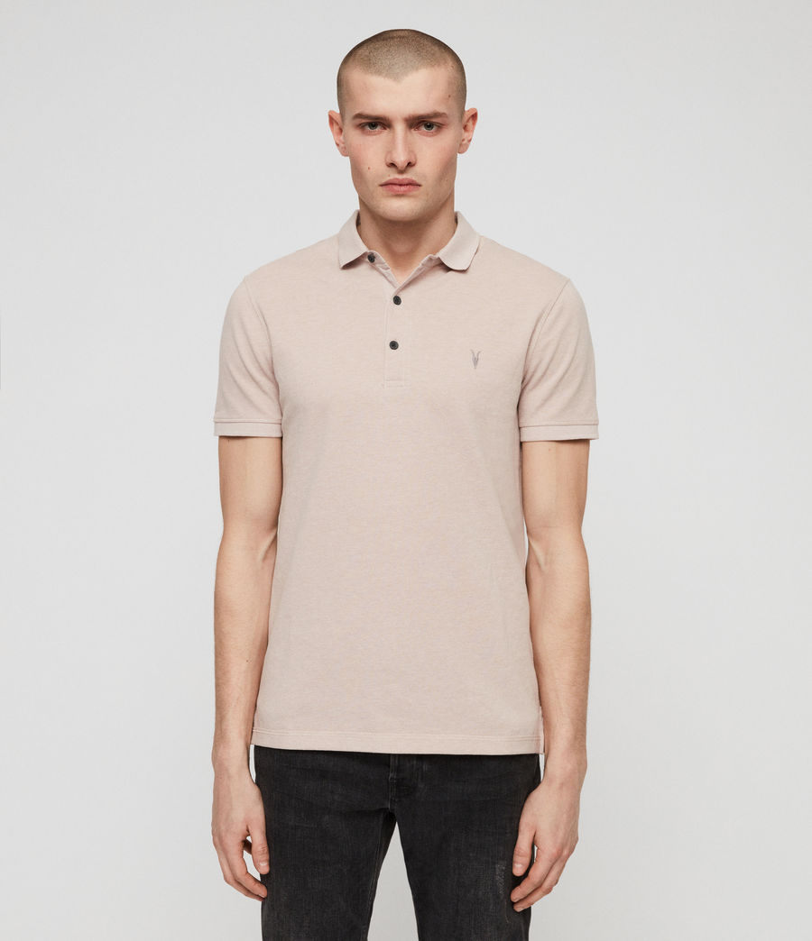 Men's Reform Short Sleeve Polo Shirt (mushroom_pink_marl) - Image 4
