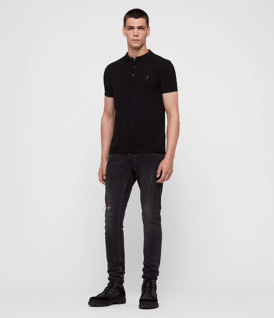 Mens Reform Short Sleeve Polo Shirt (black) - Image 3