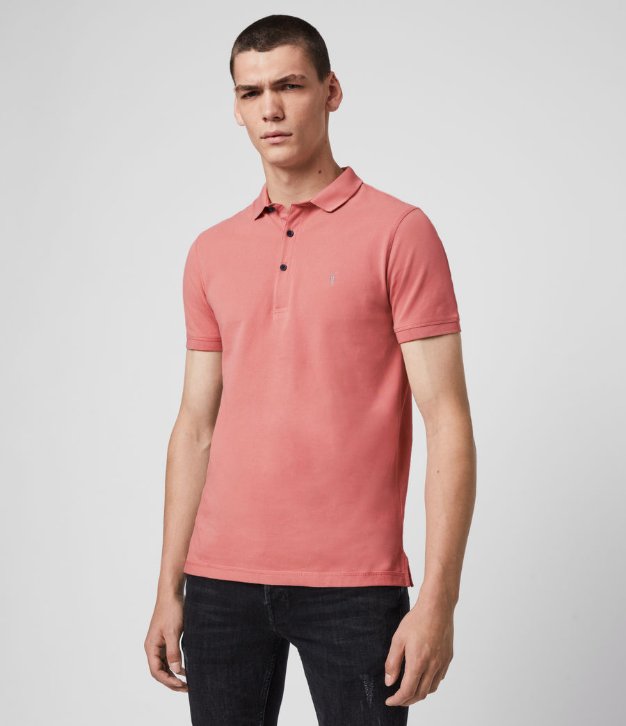 Hombres Reform Short Sleeve Polo Shirt (melon_pink) - Image 4