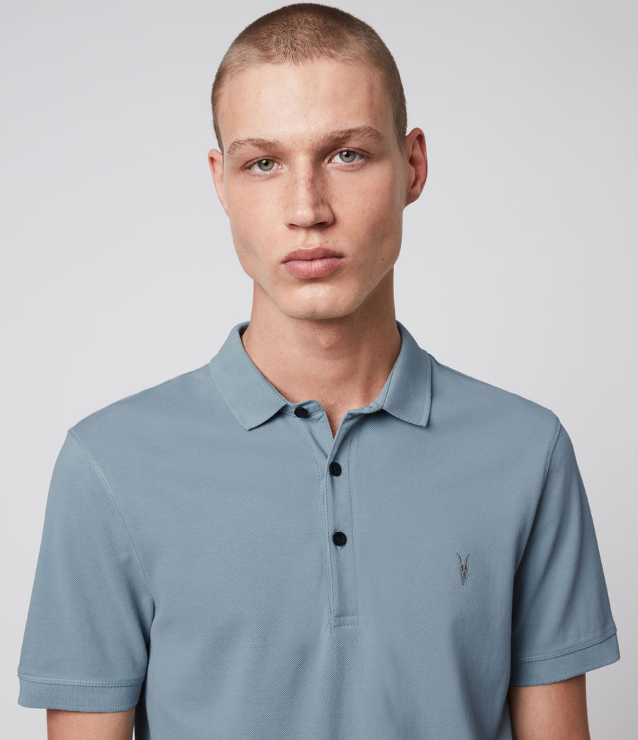 Hombre Reform Short Sleeve Polo Shirt (ceramic_blue) - Image 2