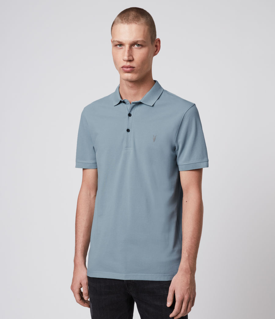 Hombre Reform Short Sleeve Polo Shirt (ceramic_blue) - Image 3