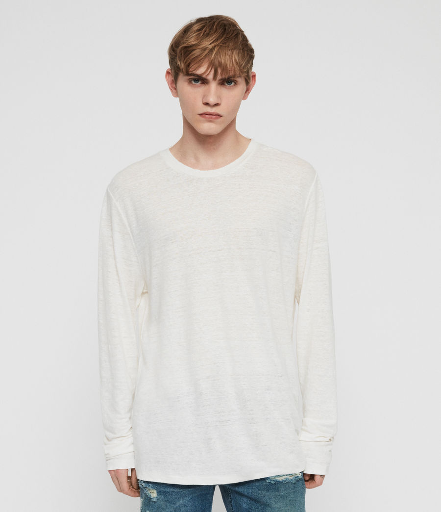 Mens Arann Long Sleeve Crew T-Shirt (chalk_white) - Image 1