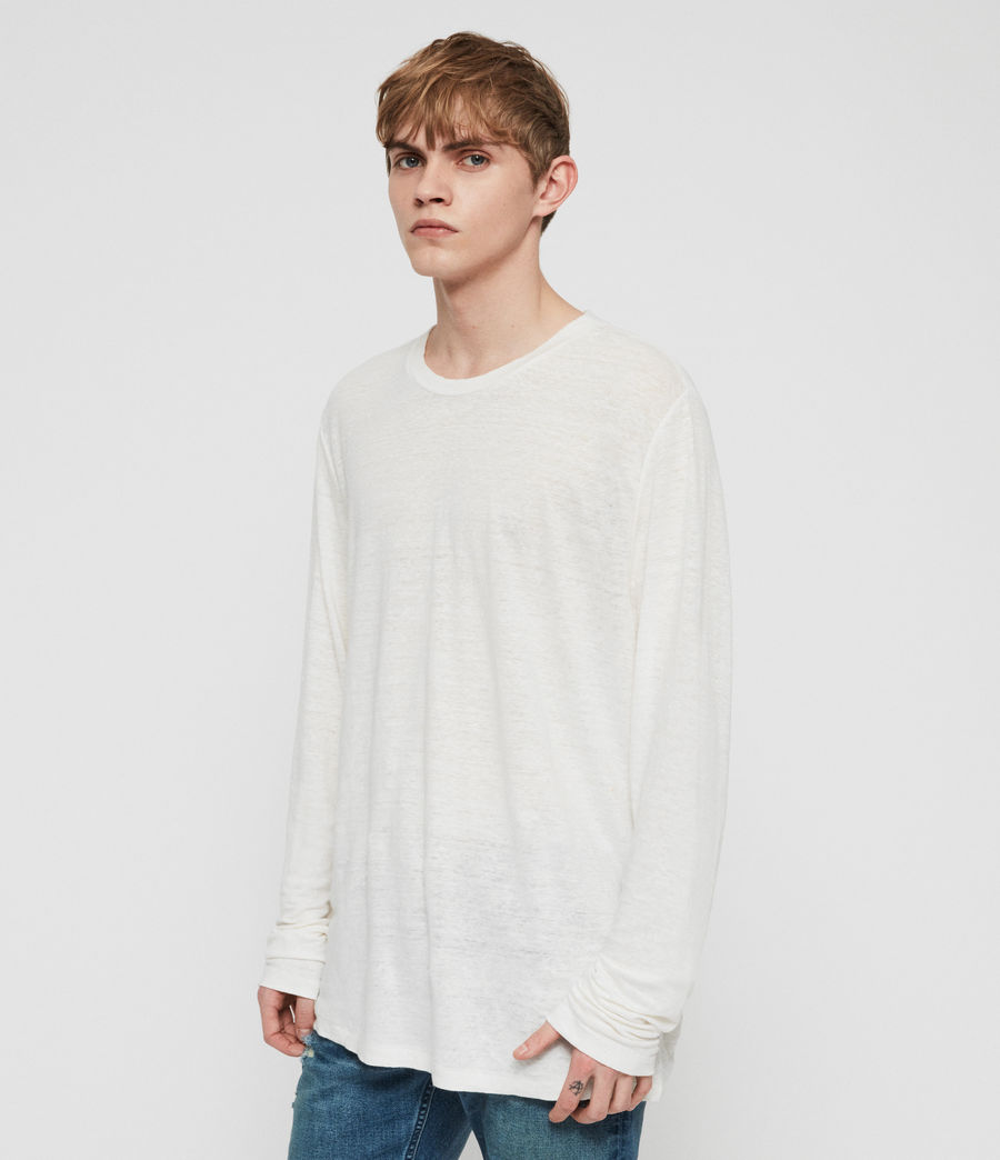Mens Arann Long Sleeve Crew T-Shirt (chalk_white) - Image 2
