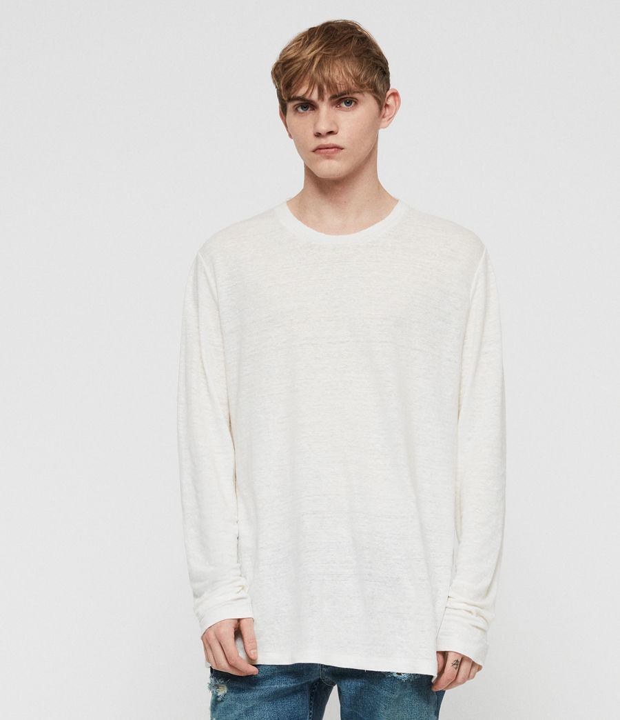 Mens Arann Long Sleeve Crew T-Shirt (chalk_white) - Image 4