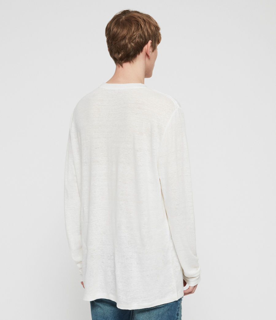 Mens Arann Long Sleeve Crew T-Shirt (chalk_white) - Image 5