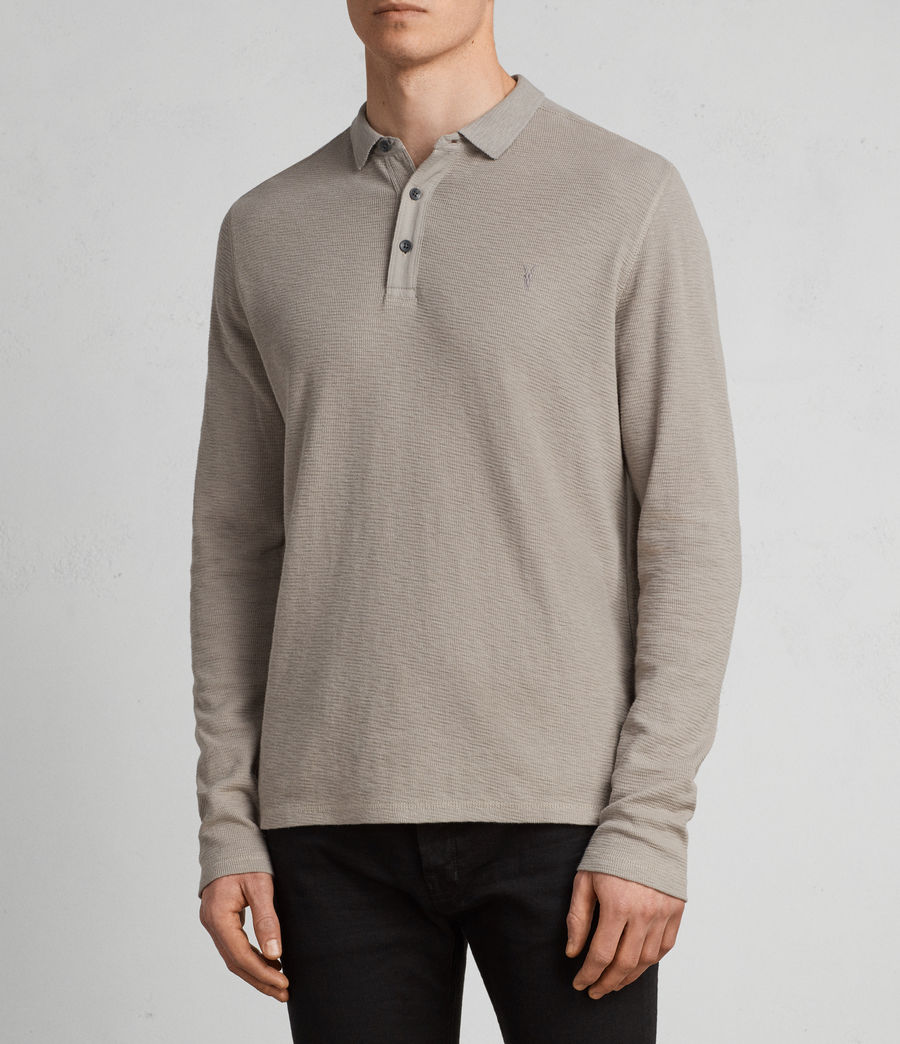 Men's Clash Long Sleeve Polo Shirt (cement) - Image 1