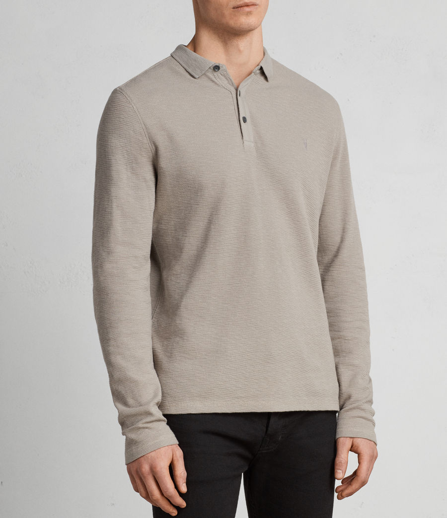 Hommes Clash Long Sleeve Polo Shirt (Cement) - Image 3
