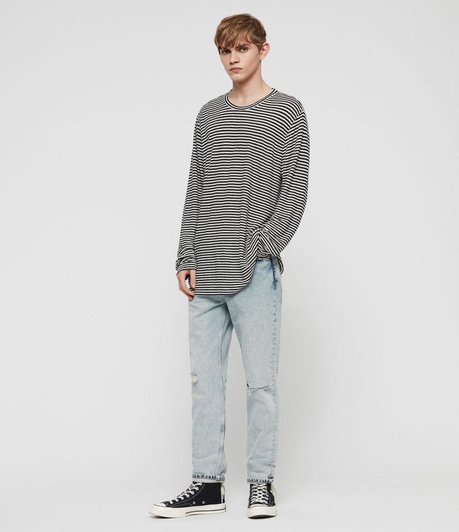 Mens Arann Stripe Long Sleeve Crew T-Shirt (white_black) - Image 1