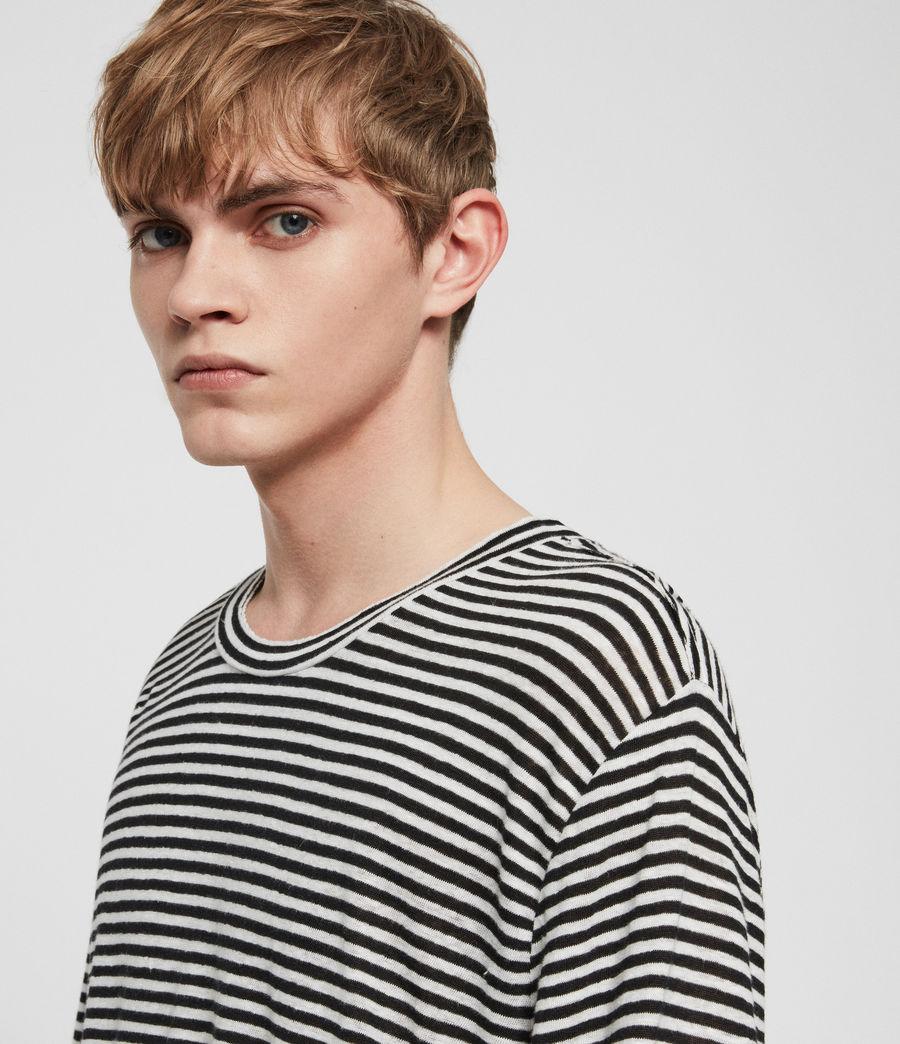 Mens Arann Stripe Long Sleeve Crew T-Shirt (white_black) - Image 2