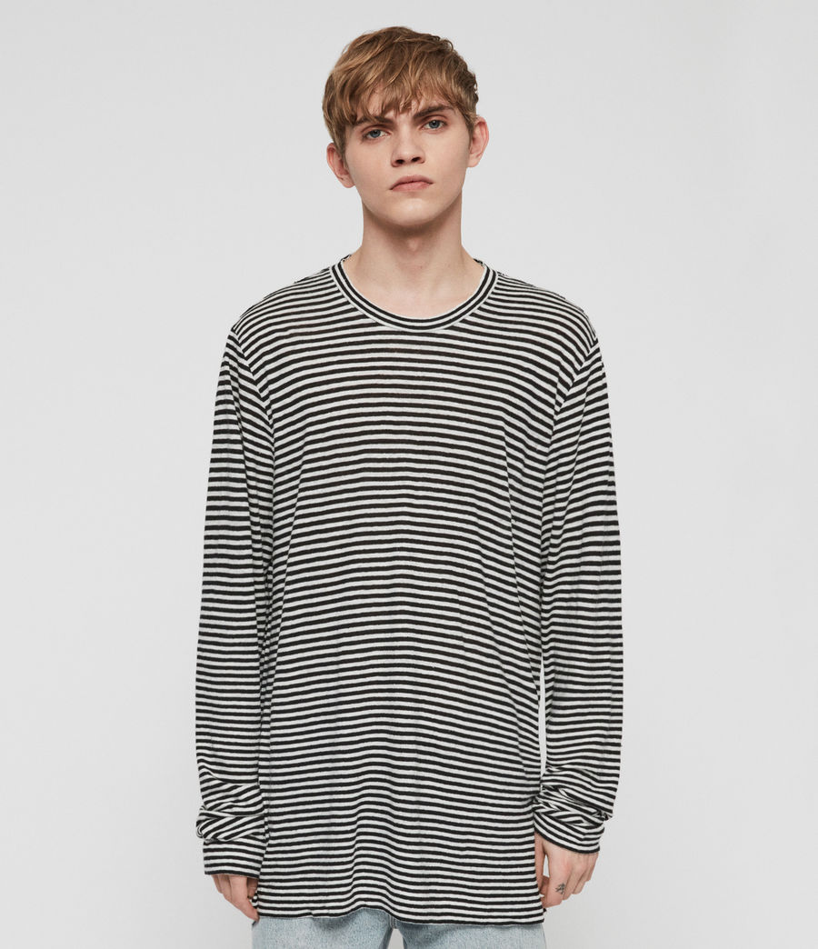 Mens Arann Stripe Long Sleeve Crew T-Shirt (white_black) - Image 3