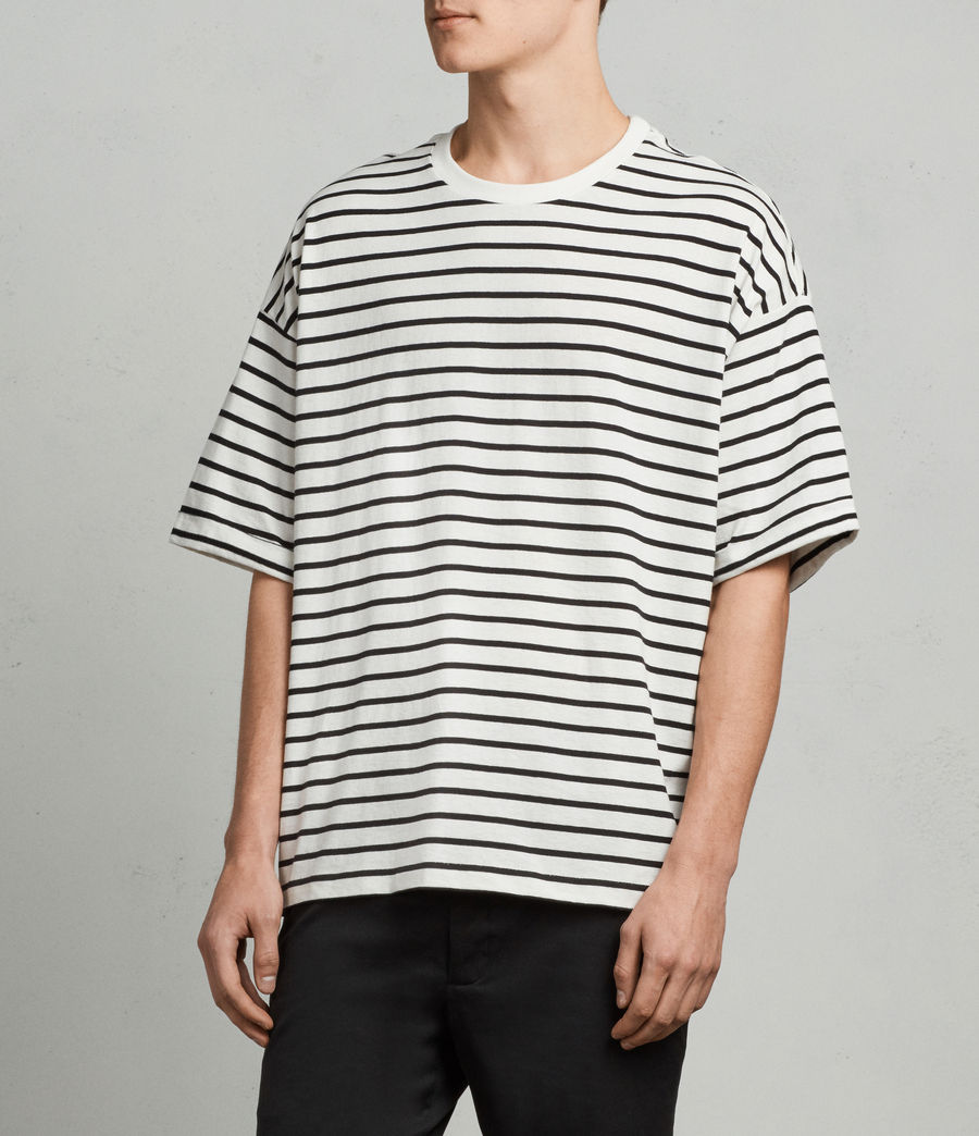 Mens Kleve Stripe Crew T-Shirt (black_chalk) - Image 3