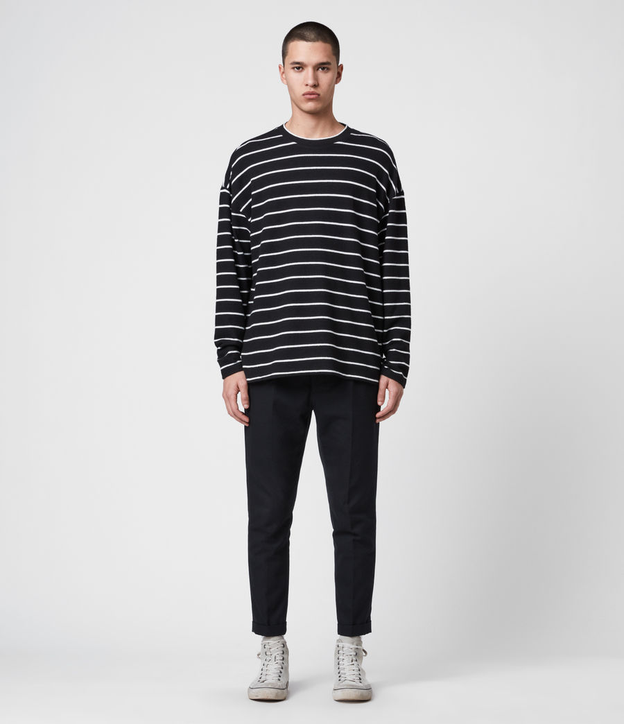 Mens Tobias Long Sleeve Crew T-Shirt (black_white) - Image 3