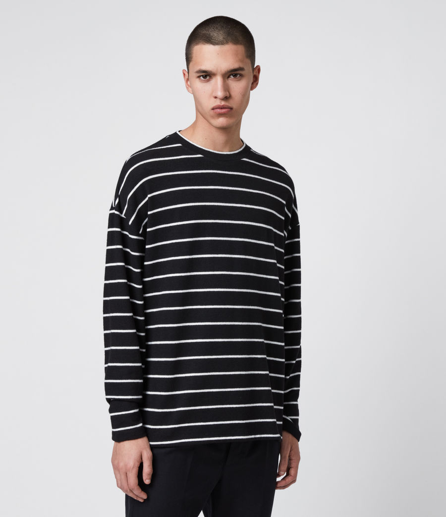 Mens Tobias Long Sleeve Crew T-Shirt (black_white) - Image 4