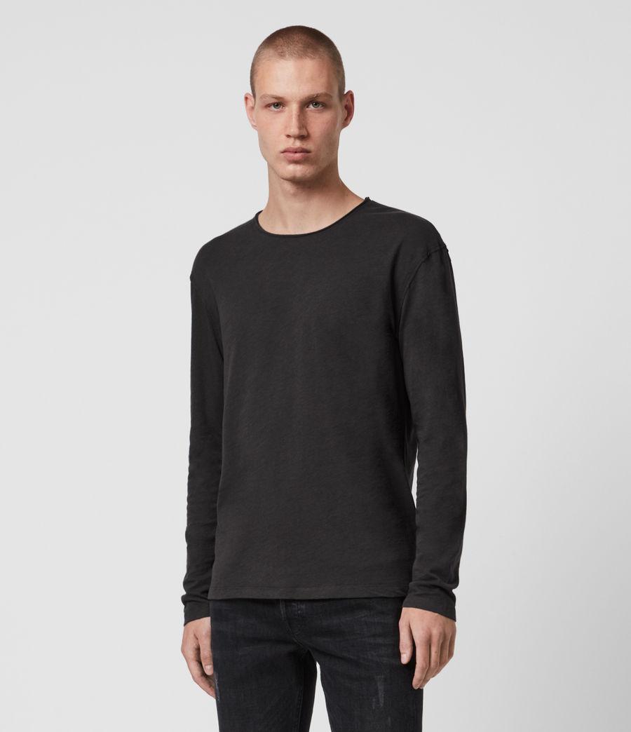 Mens Figure Long Sleeve Crew T-Shirt (washed_black) - Image 1