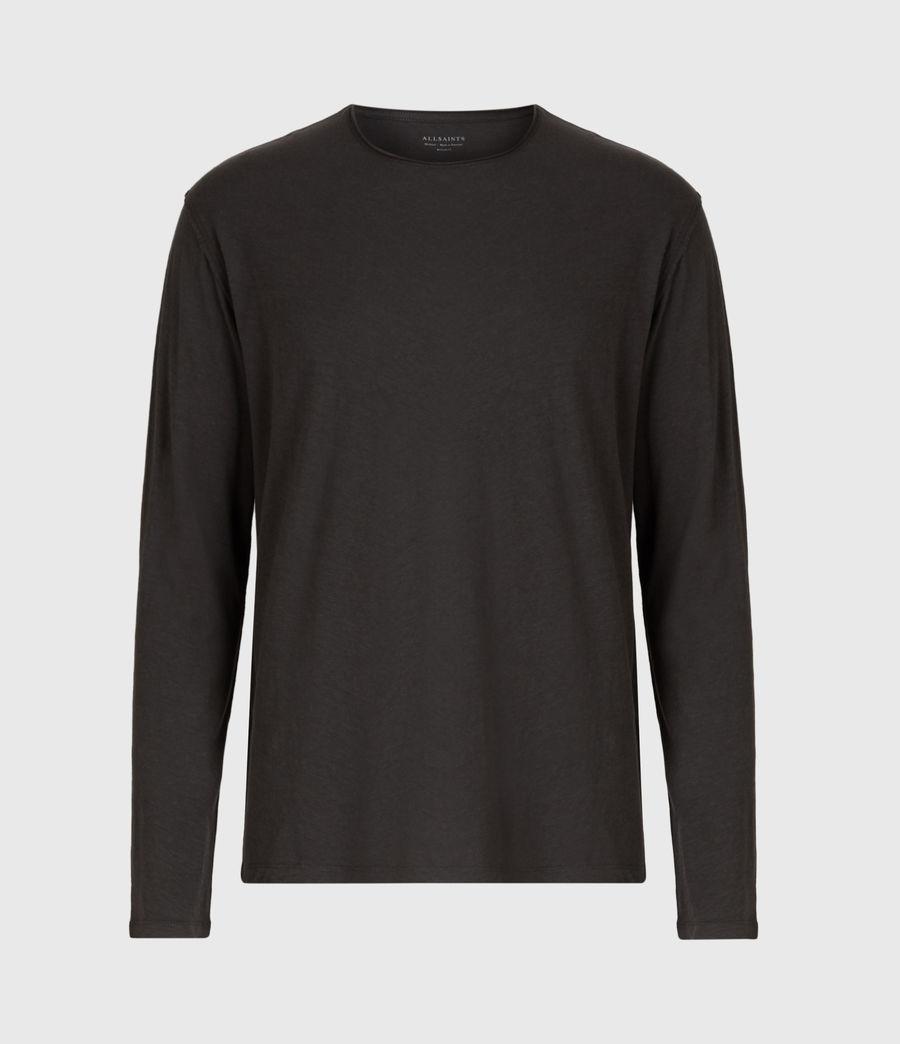 Mens Figure Long Sleeve Crew T-Shirt (washed_black) - Image 2