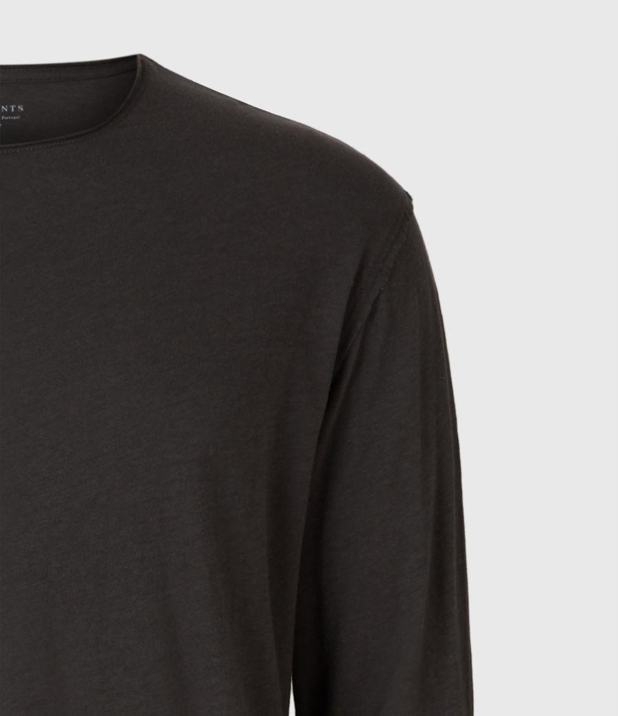 Mens Figure Long Sleeve Crew T-Shirt (washed_black) - Image 4