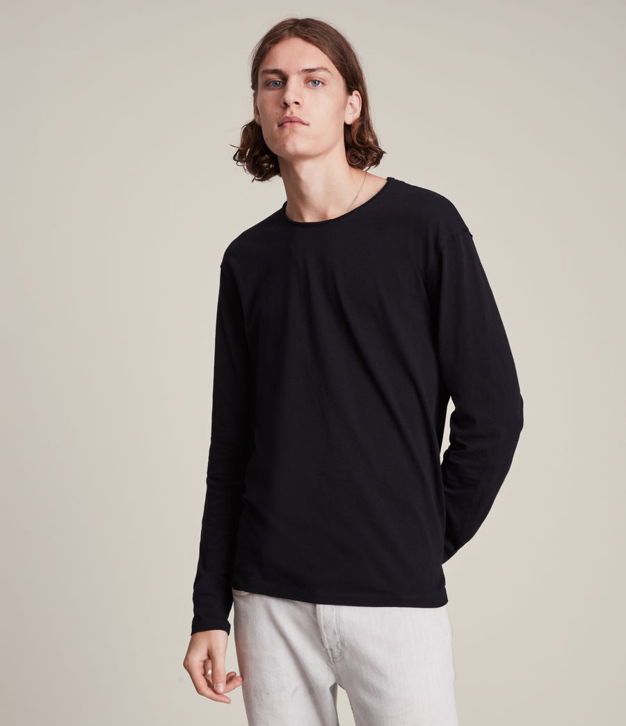 Men's Figure Long Sleeve Crew T-Shirt (jet_black) - Image 4