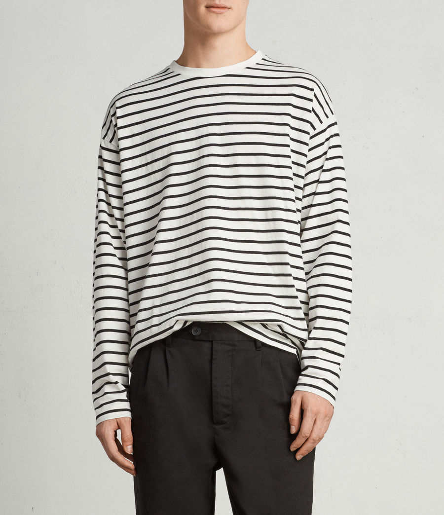 Mens Kleve Stripe Long Sleeve Crew T-Shirt (black_chalk) - Image 1