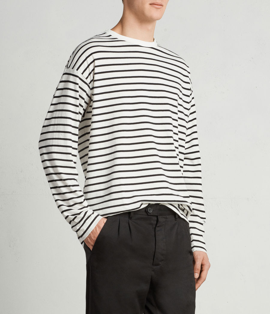 Mens Kleve Stripe Long Sleeve Crew T-Shirt (black_chalk) - Image 2