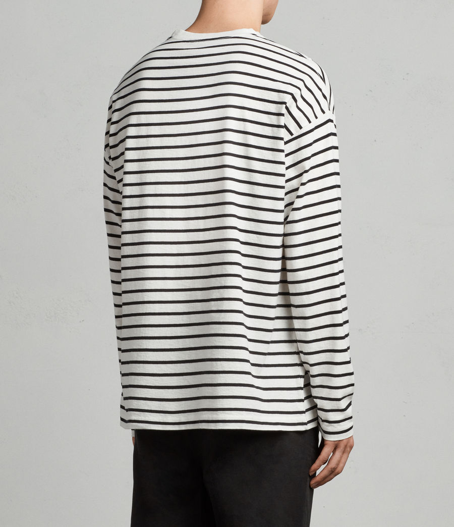Mens Kleve Stripe Long Sleeve Crew T-Shirt (black_chalk) - Image 3