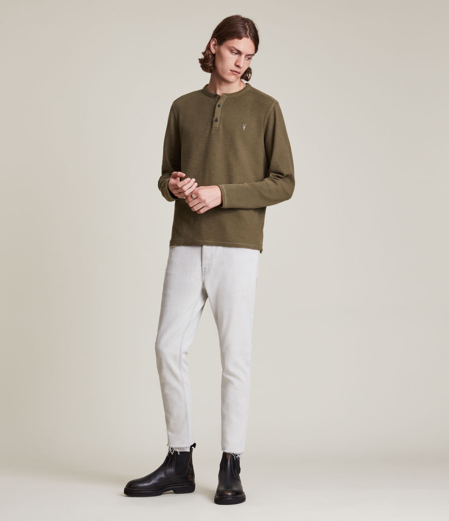 Mens Muse Long Sleeve Henley (parlour_green) - Image 1