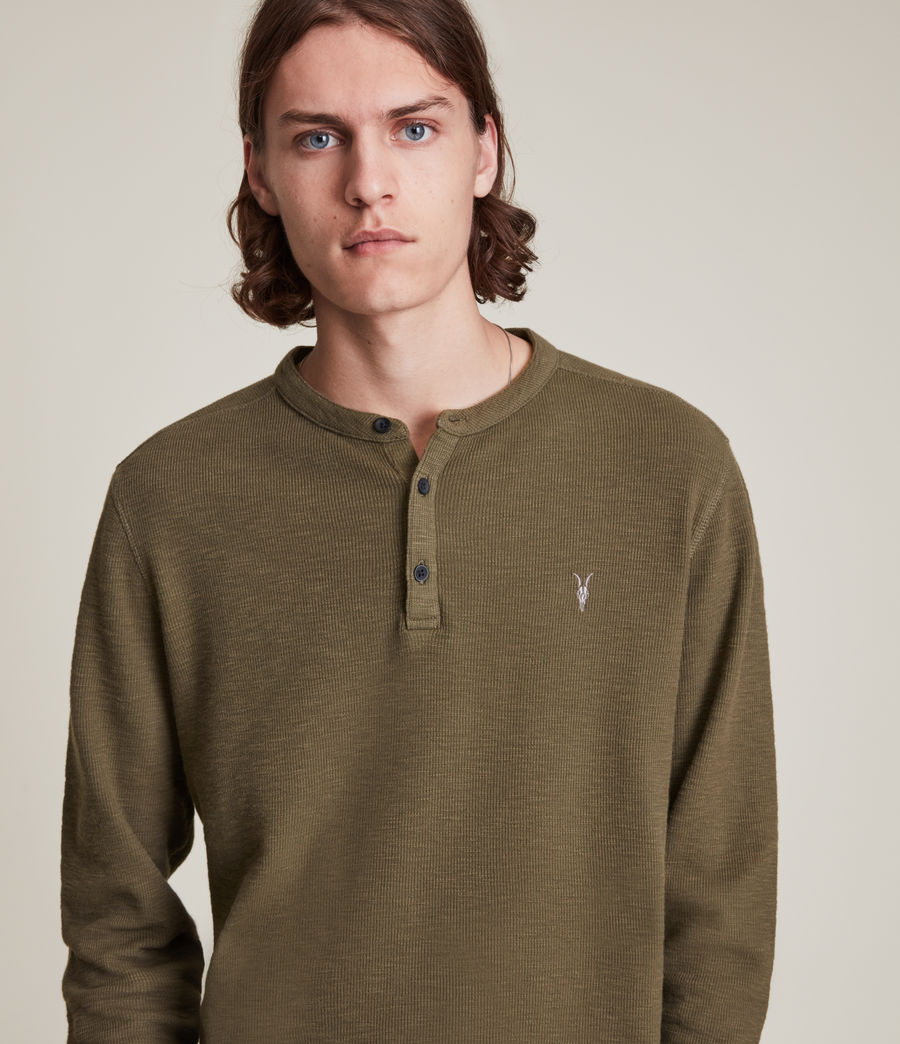 Mens Muse Long Sleeve Henley (parlour_green) - Image 2