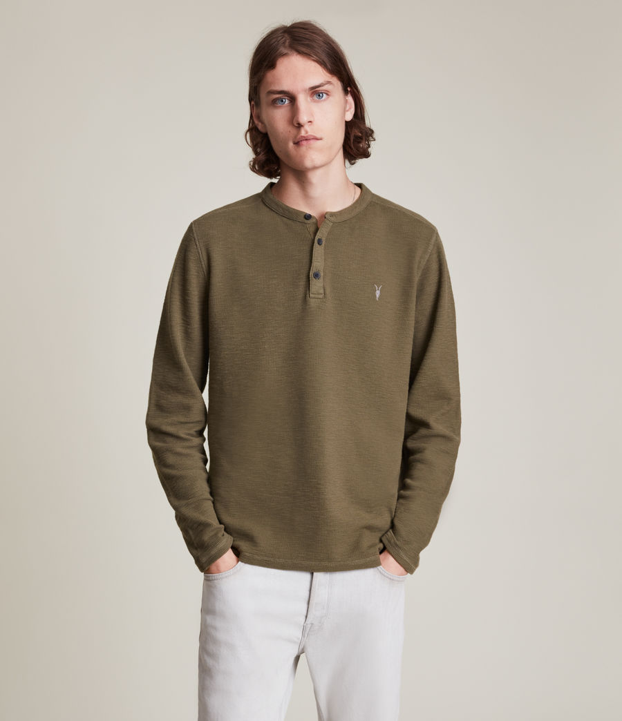 Mens Muse Long Sleeve Henley (parlour_green) - Image 3