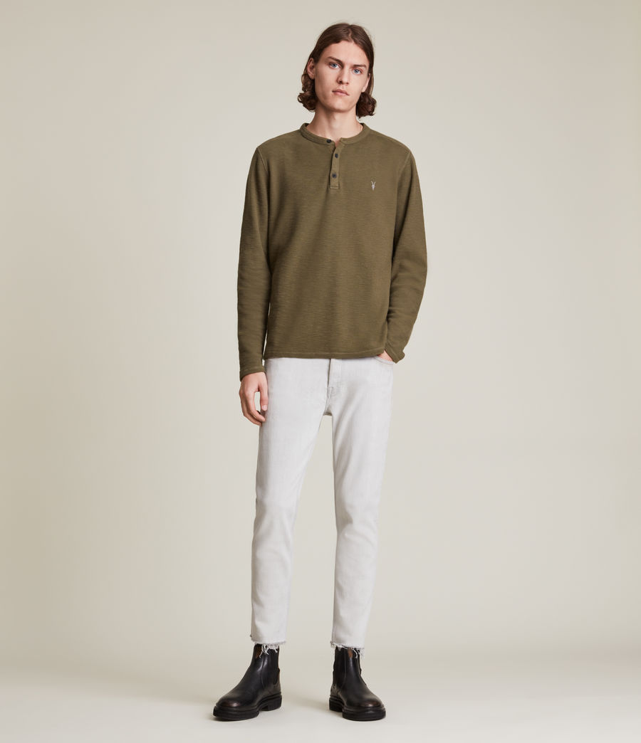 Mens Muse Long Sleeve Henley (parlour_green) - Image 4