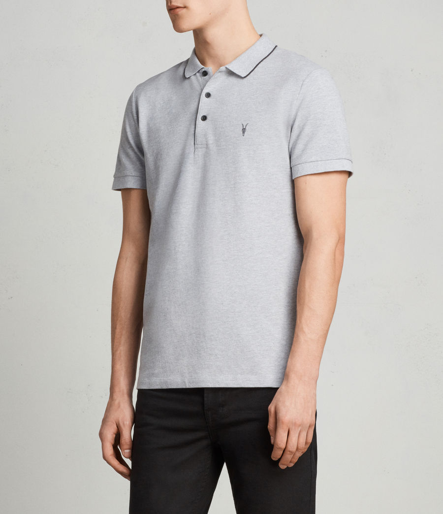 Men's Houston Polo Shirt (greymarl_wshdblack) - Image 3