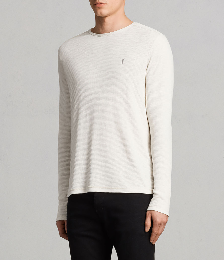 Men's Clash Long Sleeved Crew T-Shirt (vintage_white) - Image 3