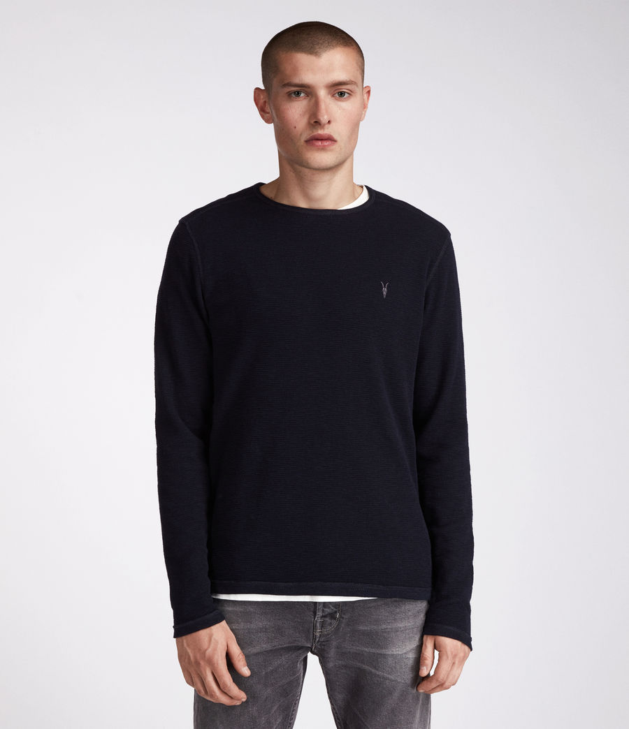 Men's Clash Long Sleeved Crew T-Shirt (ink_navy) - Image 1