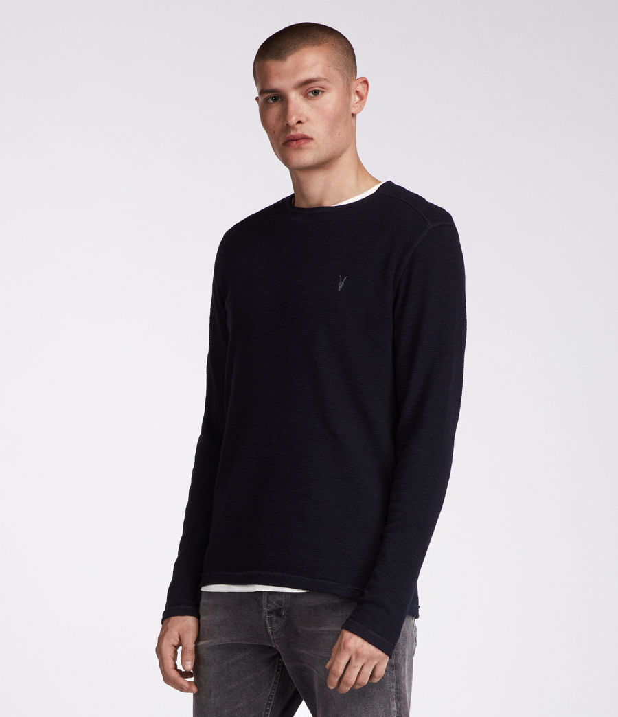 Men's Clash Long Sleeved Crew T-Shirt (INK NAVY) - Image 4