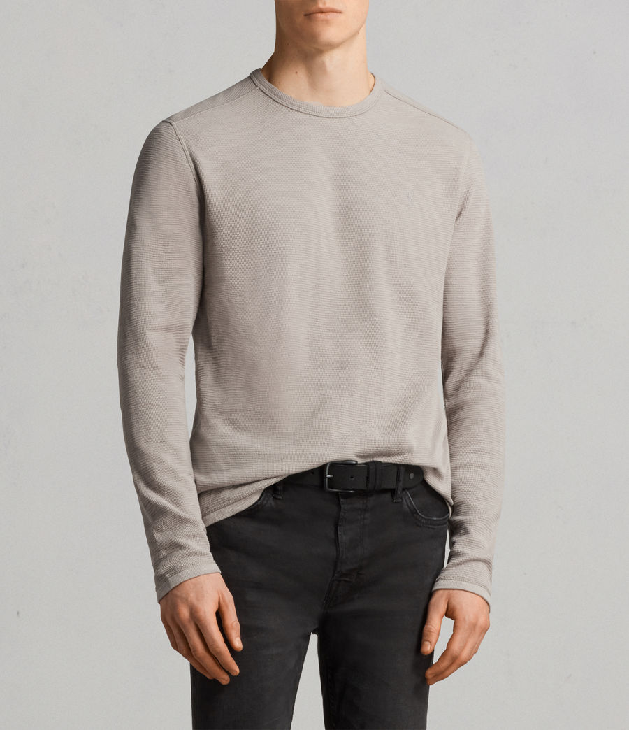 Men's Clash Long Sleeved Crew T-Shirt (cement_grey) - Image 1