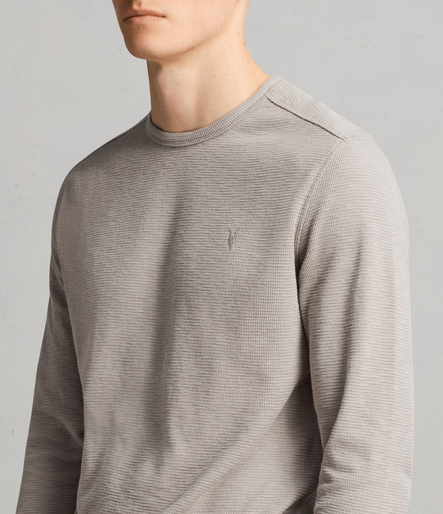 Men's Clash Long Sleeved Crew T-Shirt (cement_grey) - Image 2