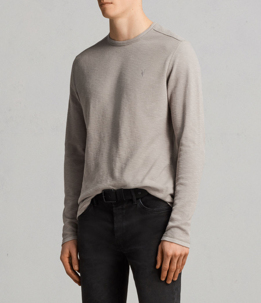 Men's Clash Long Sleeved Crew T-Shirt (cement_grey) - Image 3