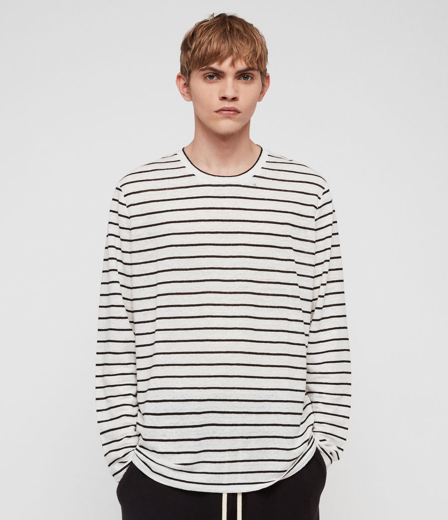 Mens Ludo Stripe Crew T-Shirt (white_black) - Image 1