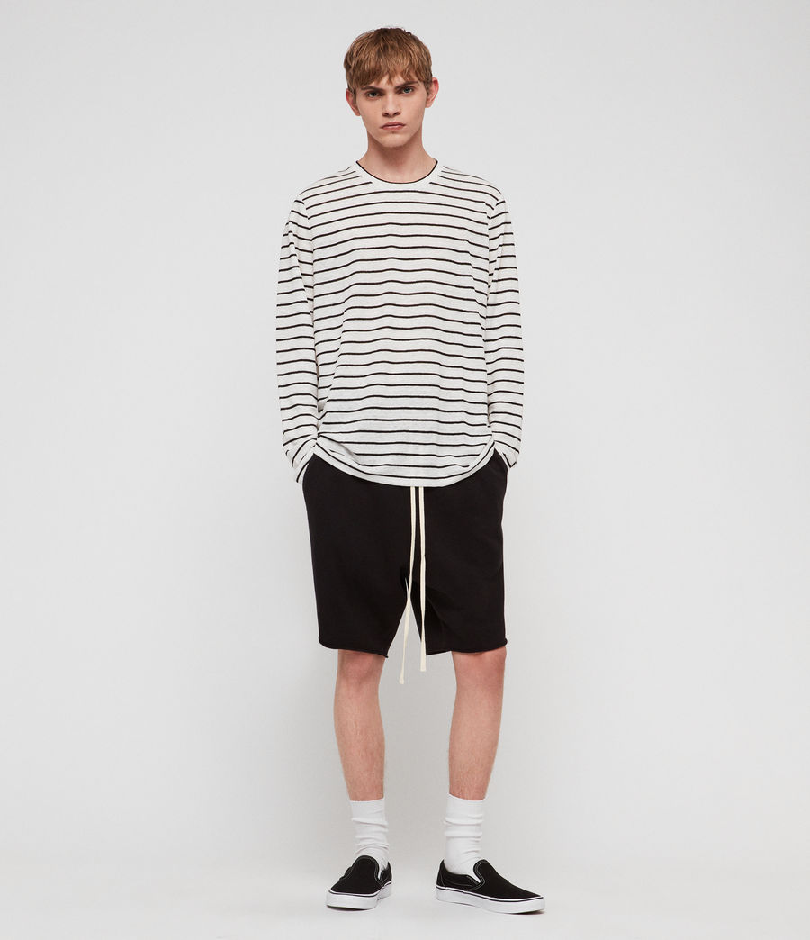 Mens Ludo Stripe Crew T-Shirt (white_black) - Image 2