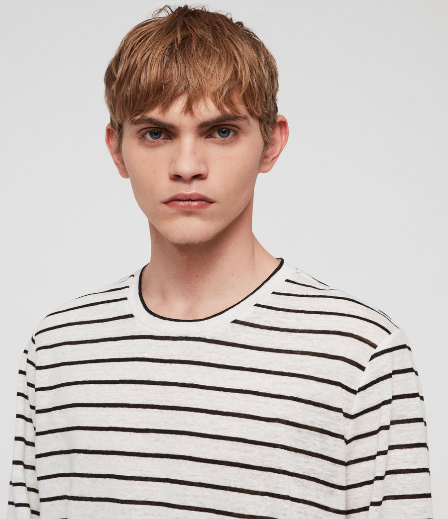 Mens Ludo Stripe Crew T-Shirt (white_black) - Image 3