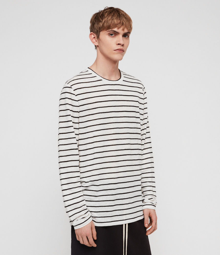 Mens Ludo Stripe Crew T-Shirt (white_black) - Image 4