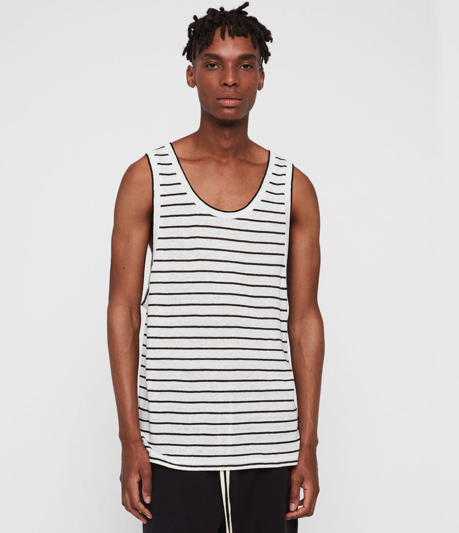 Men's Ludo Stripe Vest (white_black) - Image 1