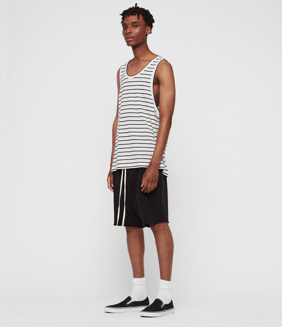 Men's Ludo Stripe Vest (white_black) - Image 2