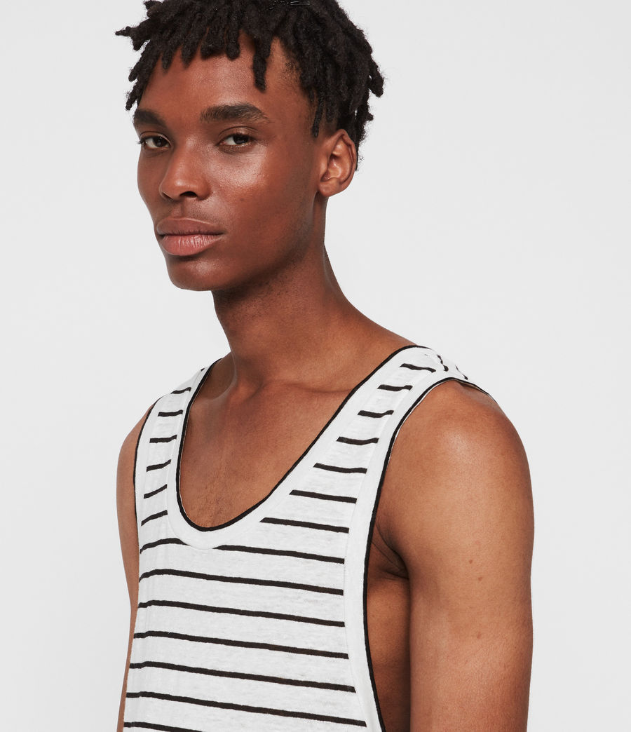 Men's Ludo Stripe Vest (white_black) - Image 3