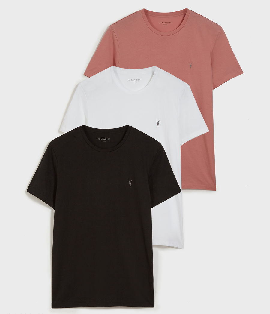 Mens Tonic Crew 3 Pack T-Shirts (m_pink_black_white) - Image 1